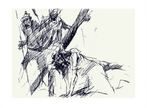 Jesus falls the first time by Luc Labante